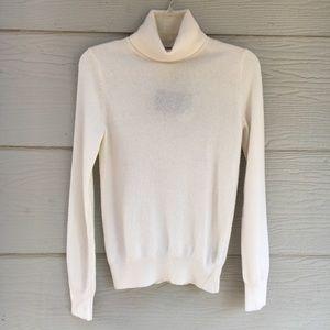 Neiman Marcus Cashmere Ivory Turtleneck Sweater-S